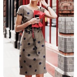 Boden Brown Linen Shift Dress Blue Polka Dots 12L